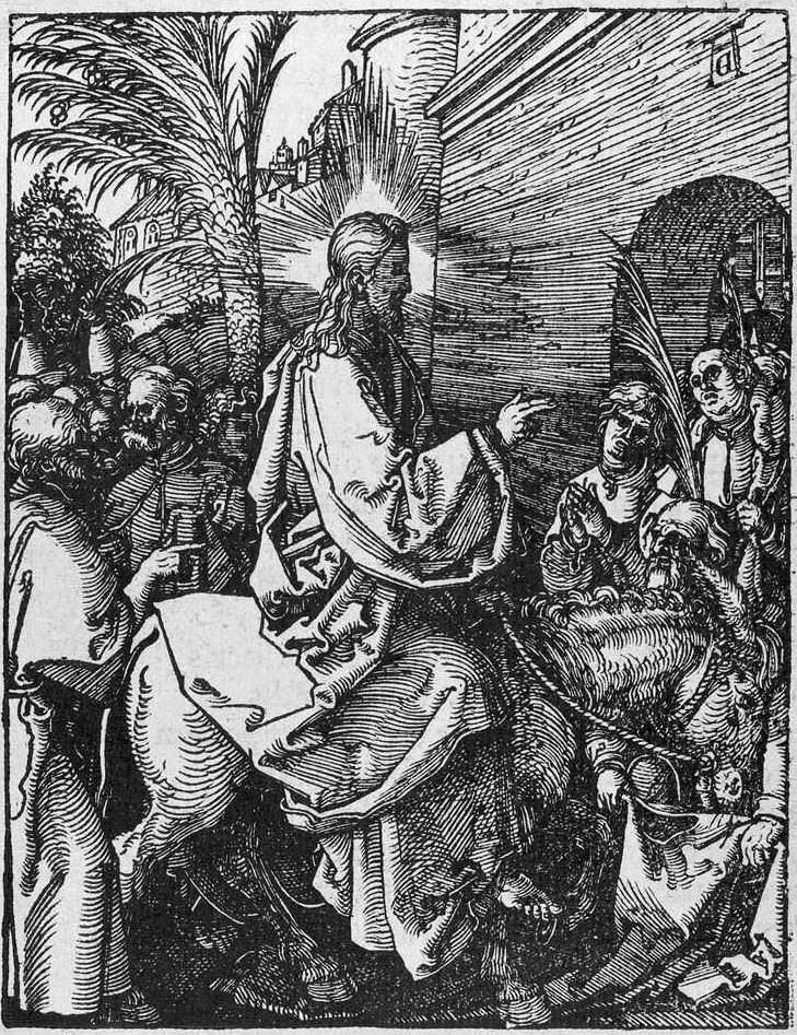 16_Durer_Christ's entry into Jerusalem     Artwork:  Christ's entry into Jerusalem      Artist:  DÜRER, Albrecht      Date:  1511     Technique:  Woodcut     Location:       Notes:  The Small Passion     Subject:  «Hosanna to the Son of David!»               Hosts:  Fine Arts Museums of San Francisco , The  [IMAGE]    Harvard University Art Museums  [IMAGE]    Own Resources  [IMAGE]    School of Information and Library Studies, University of Michigan  [IMAGE]